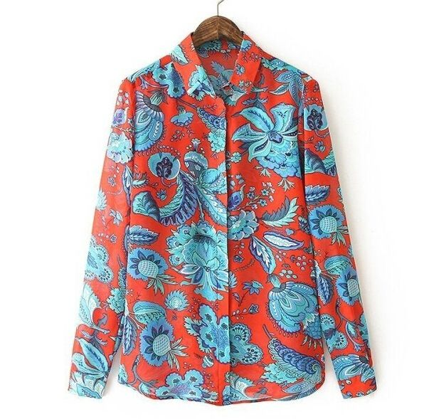 Women plus size feather floral print blouses vintage turn down collar long sleeve office work shirts casual loose top