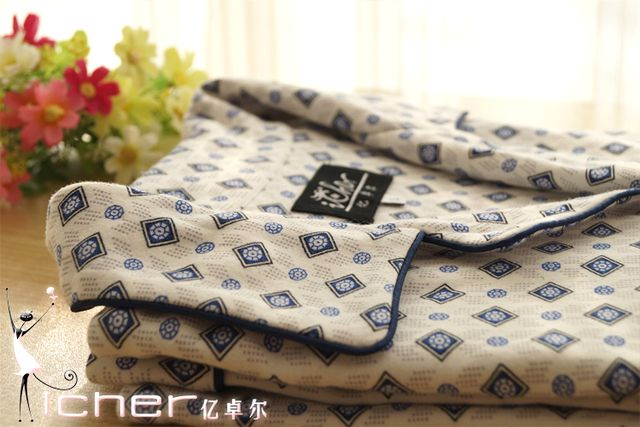 New arrival white bottom blue circle square 100% cotton knitted male lounge sleepwear set