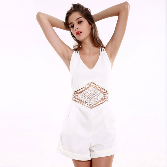 lztlylzt Playsuit Hollow Out White Spaghetti Strap Backless Women Playsuits 2016 Summer Sexy Rompers Womens Jumpsuit Clothes