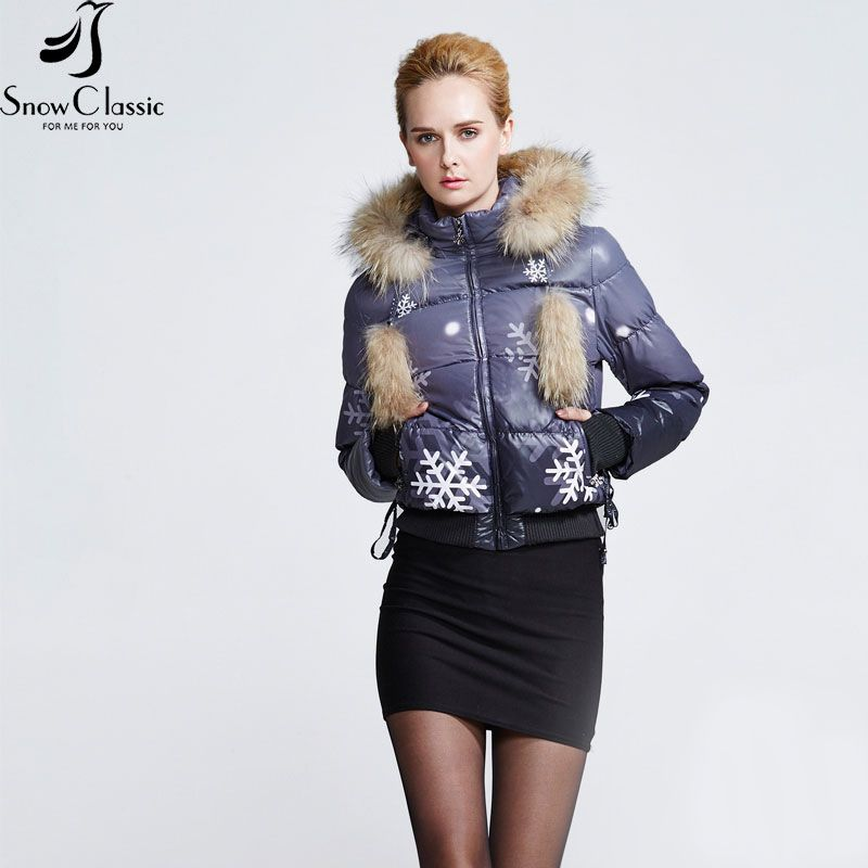 Snow Classic Clearance Women's Winter Jackets 2016 Real Raccoon Fur collar short parkas White duck down fur coats for women 0478