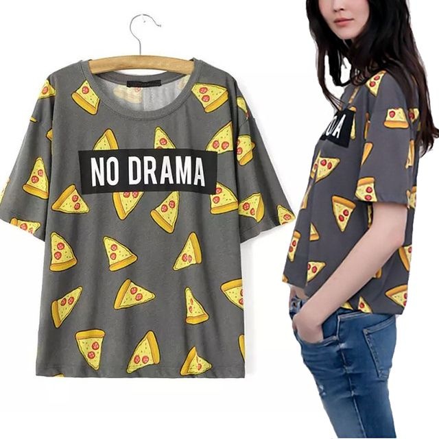Sale Summer Women Beach Style Casual O Neck Pizza Cake  NO DRAMA Print T-shirt Short Sleeve Tops