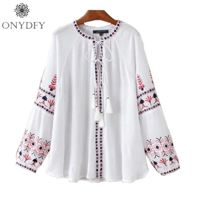 Camisas Femininas 2017 Boho Vintage Blouse Ethnic Embroidery White Shirt Women Long Sleeve Casual Blouses Tops With Tassel