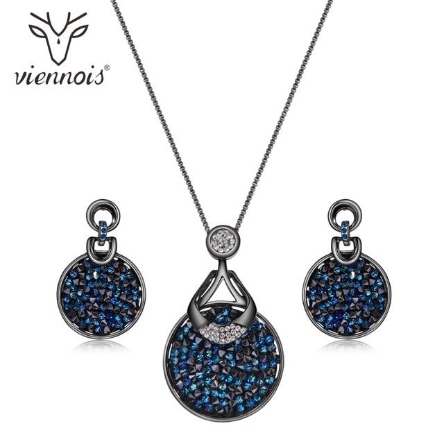 Viennois Blue Crystal From Swarovski Women Jewelry Sets Fashion Rhinestone Pendant Earrings And Necklace Sets For Women