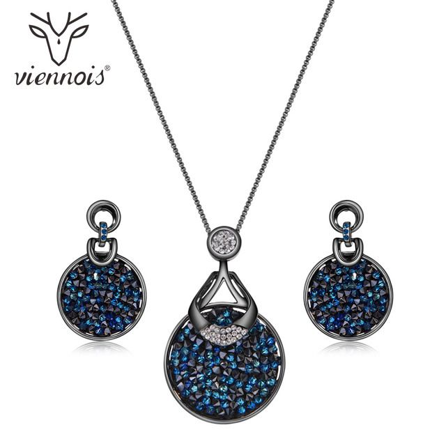 Viennois Blue Crystal From Women Jewelry Sets Fashion Rhinestone Pendant Earrings And Necklace Sets For Women