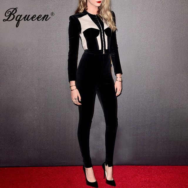 Bqueen 2017 New Pants Suits Mesh Patchwork Crop Top Long Sleeve Skinny Pants Sets Women Autumn Sets Fashion