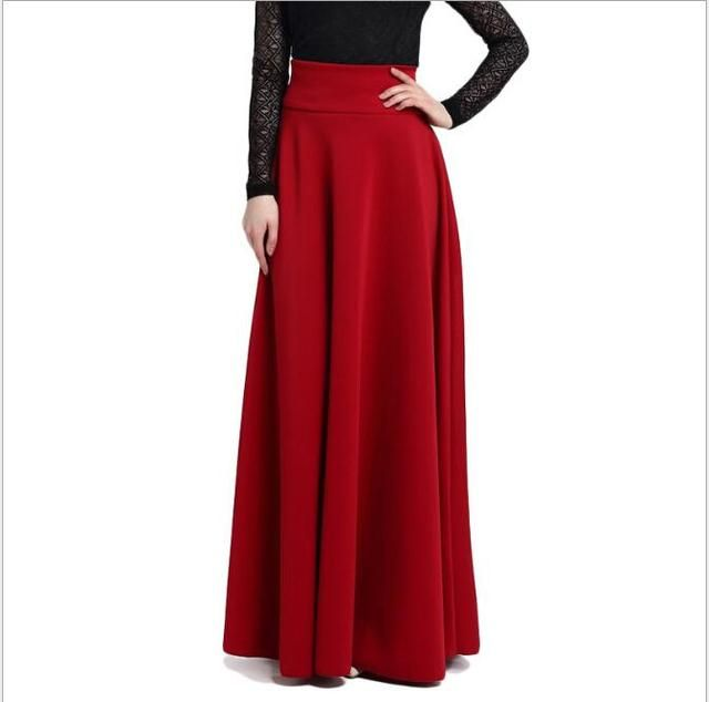 2018 S M L 5XL New High Waist Pleat Elegant Skirt Wine Red Black Solid Color Long Skirts Women Faldas Saia Plus Size Ladies Jupe
