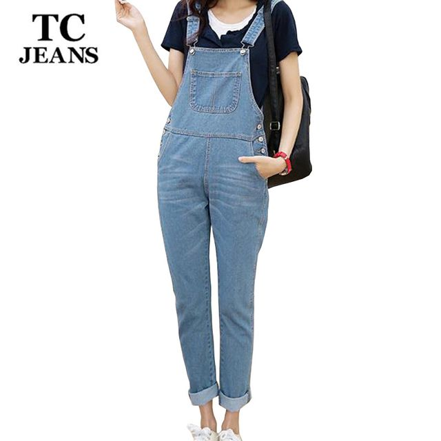 TC Plus Size Women Jeans Jumpsuit Spring Autumn Casual Black Blue White Loose Slim Scratched Denim Overall Coverall XXXL WT00524