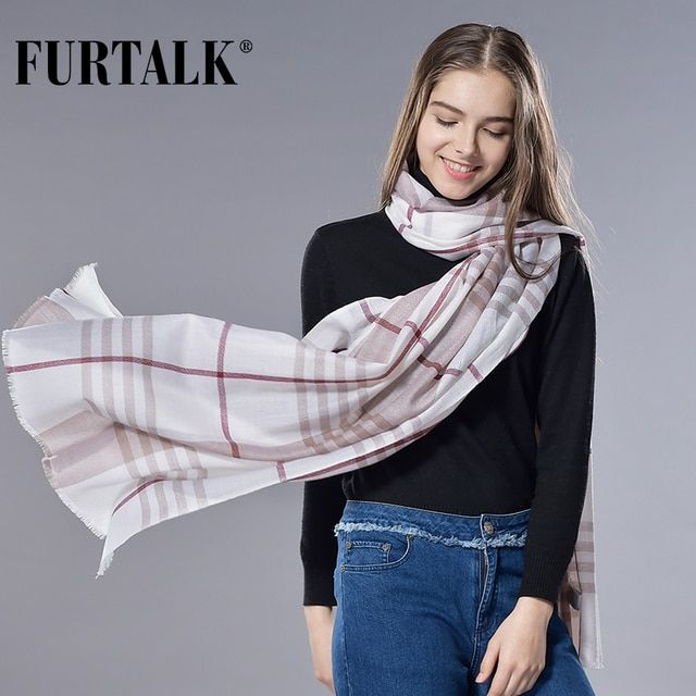 FURTALK 100% Lamb Wool Plaid Desigual Scarf Spring Autumn Women and Men Scarf Luxury Brand Couples Scarves Female and Male