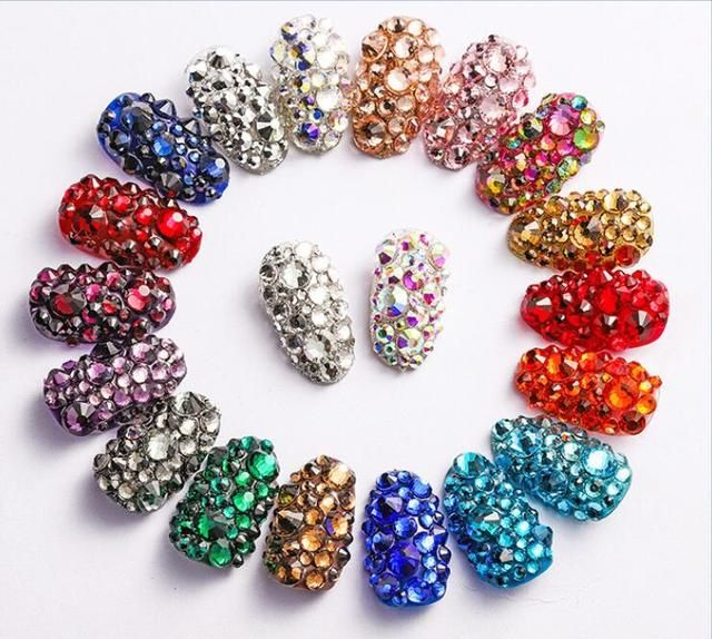 1 Pack 40colors Mix Sizes Nail Art Non HotFix Crystal Rhinestone,DIY Flatback 3D Glass Non Hot Fix Rhinestones Nail Decoration