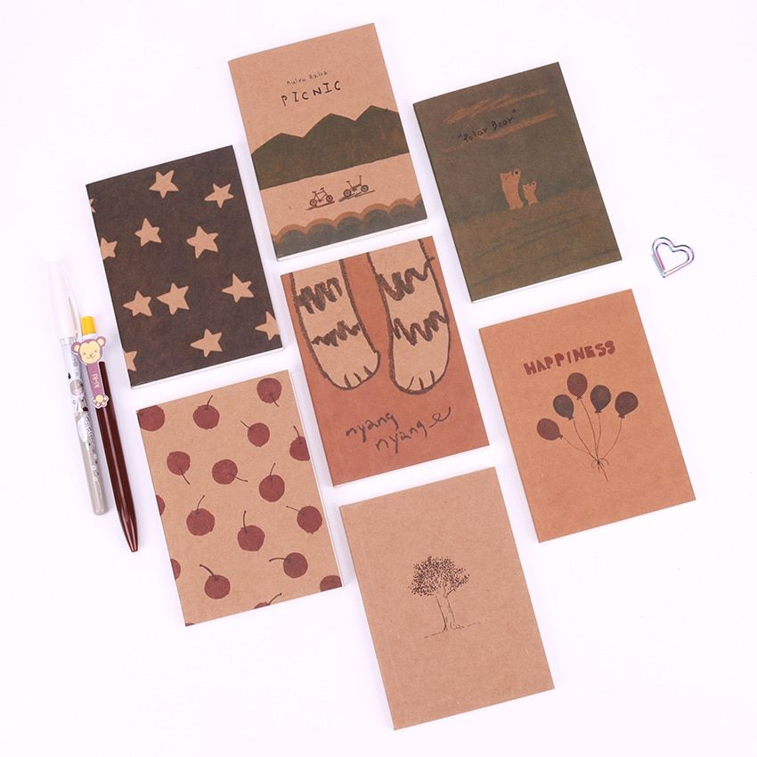1PC Lovely Vintage Paiting Notebook Stationery Daily Notes Office School Supplies Sketch Book Memo Pad Note Book Gift