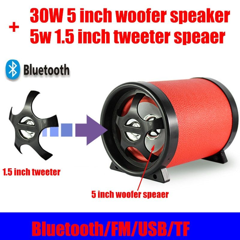 35W High Power Bluetooth 4.0 Speaker 5 Inch Woofer 1.5 Inch Tweeter DC12V/AC110~240V USB TF FM radio With Remote For Home PC Car