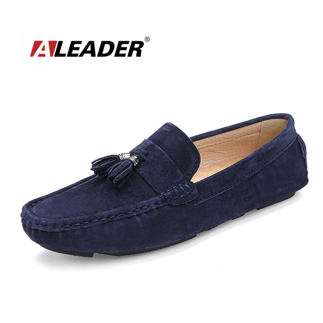 Aleader 2016 Men Loafers Casual Suede Leather Men's Flat Shoes Fashion Slip on Men Driving Loafers Original Brand Lazy Moccasins