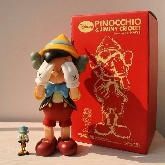 10inch standing 8inch sitting Original Fake KAWS Pinocchio medicom toy kaws factory product  with retail box