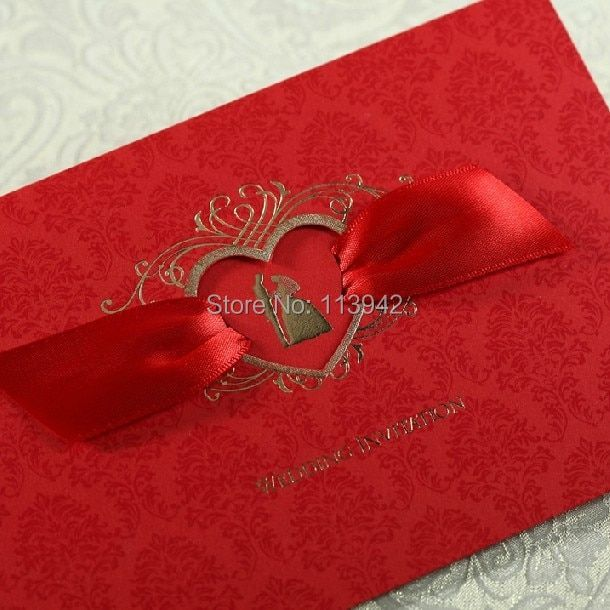 50sets Red Personalized Printing Wedding Card Invitation Convite De Casamento Free Envelope Wedding Favor Event & Party Supplies