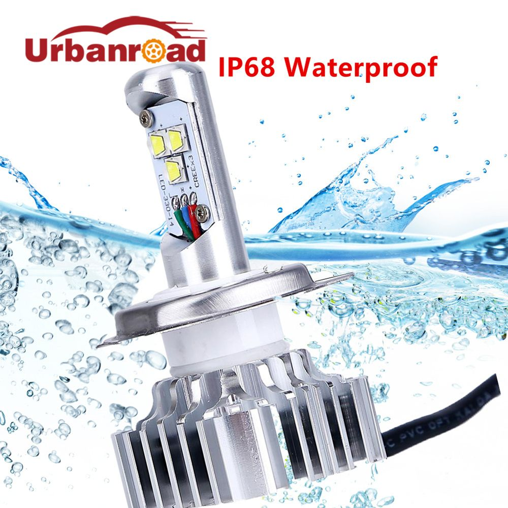 Led H4 motorcycle headlight bulbs waterproof Turbo fan H4 9003 Hb2  Led High Low 6000k 12V 24V ATV SUV Fog Lamp