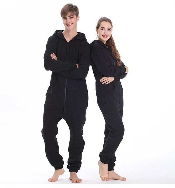 Original Brand Women's Unisex One Direction One Piece Solid  Zip Up Fleece Thick Hooded Long Men Playsuit Jumpsuit Pajama