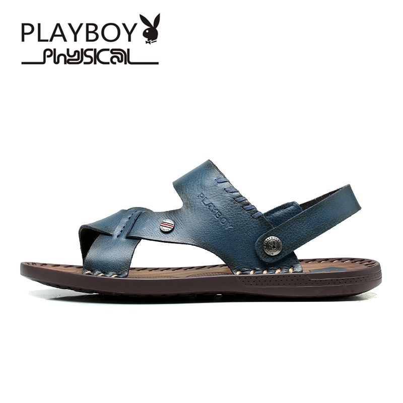 PLAYBOY High Quality Sandal Men Summer New Arrival Slippers Genuine Leather Casual Sandals Men Brand Shoes Men Big Size 39-44
