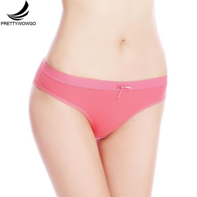Prettywowgo New Arrival 2019 Solid Color Cotton Women Briefs Panties 6953