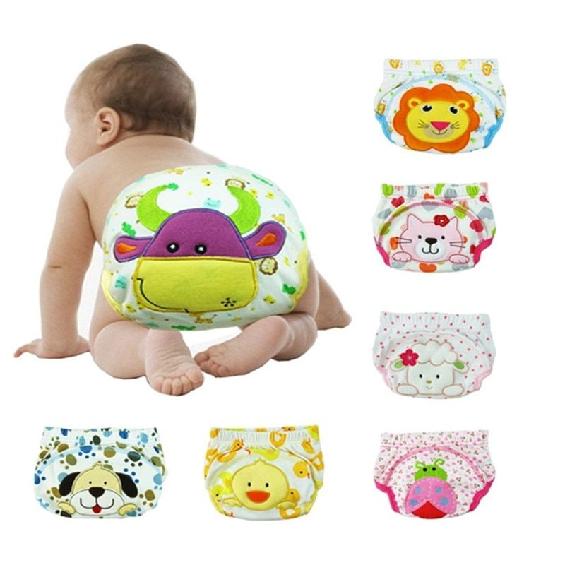T090 Hot SaleCute Baby LABS Pants For Toddler Potty Waterproof Cloth Diapers Training Learning Cartoon Diapers Underwear