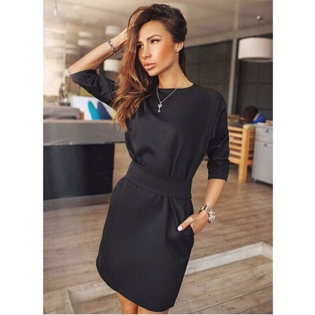 2016 Women Summer Fashion Casual Mini Dress Solid Color Short Sleeve O-neck Women Dress Two Side Pocket Black Dresses Plus Size