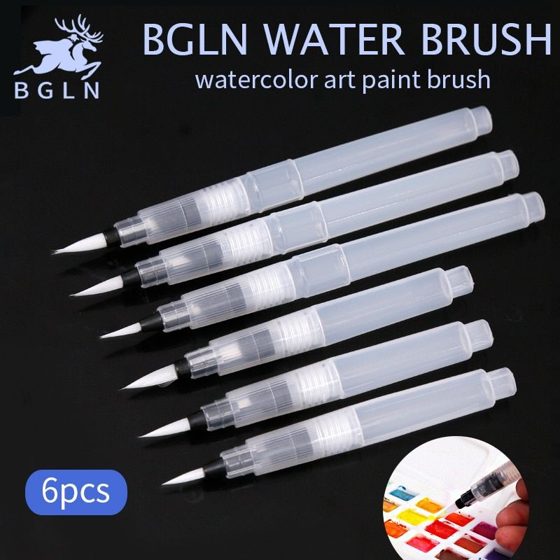 Bgln 6Pcs/set Water Color Paint Brush Set Soft Watercolor Art Paint Brush Nylon Hair Watercolor Painting Brush Art Supplies