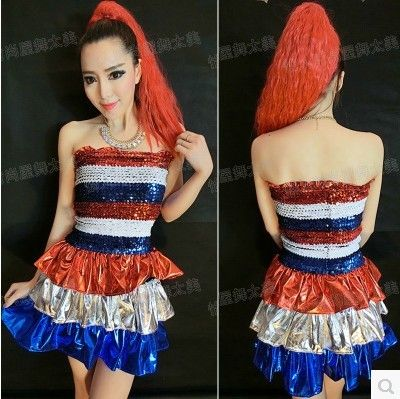 New Designer Fashion Slim Dancing Clothes Sexy Sequined Tee Dress Jazz Costumes Stage wear Chinese Folk Dance