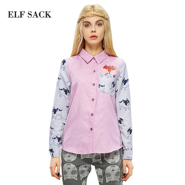 ELF SACK Women Autumn Matchwork Long Sleeve Embroidery Cartoon Cute Blouse 2015 New Fashion Brand Womens Tops And Blouses