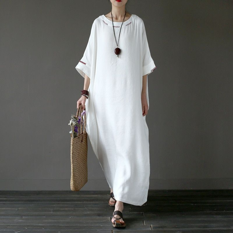 Solid White Plus size Linen Embroidery Women Long Dress Original Oversized Summer Dress Linen Brand Robe Longue Femme A042