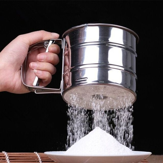 Kitchen Tools Stainless Steel Mesh Flour Sifter Mechanical Baking Icing Sugar Shaker Sieve Tool Cup Shape Free Shipping