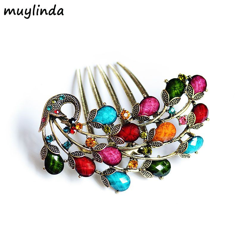 Vintage Peacock Hair Comb Antique Bronze Hair Clip Hairpins Headdress Exquisite Hair Jewelry For Women