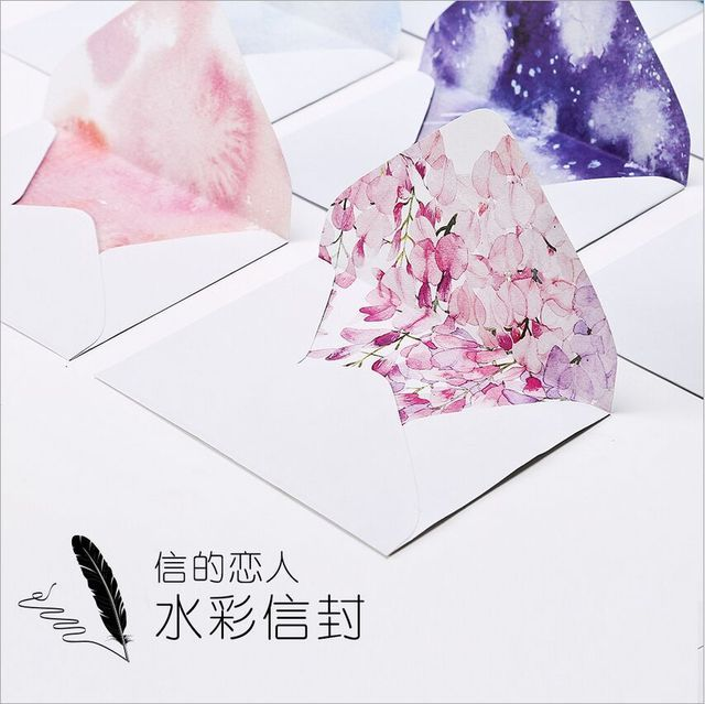 10Pcs/Set Blooming Season Flowers Colorful Dream Paper Envelope Postcard Photo Stroage Greeting Card Invitation Gift Envelope