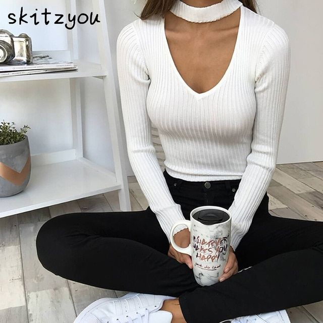 skitzyou Women Long Sleeve White Bodysuit Black Bodycon Rompers Women Jumpsuit Gray Overalls Slim Playsuits combinaison femme