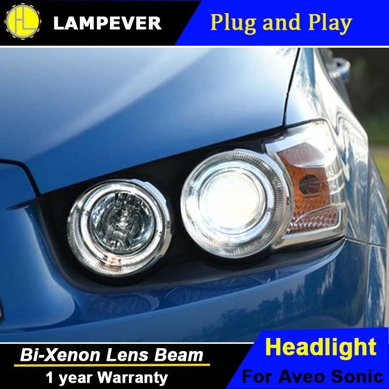Lampever Car Styling for Chevrolet Sonic Headlights 2011-2014 Aveo LED Headlight LED DRL Bi Xenon Lens High Low Beam Parking