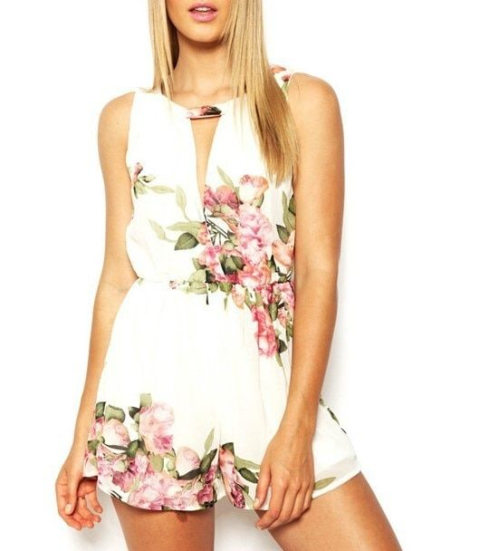 open back chiffon floral romper womens Summer playsuits jumpsuit 2016 summer cute feminino vestidos female overalls Clothing