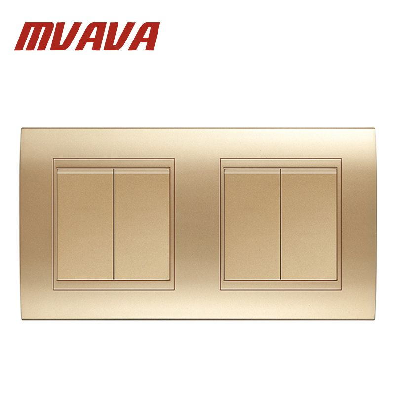 MVAVA Double 2 Gang Wall Switch Luxury Champagne Gold Electrical Push Button Light Switch Safe Fire Proof PC Panel Free Shipping
