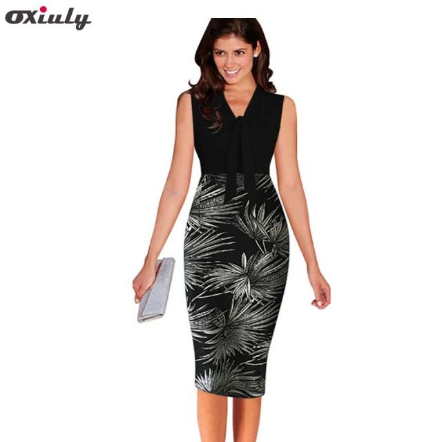 Summer Women's Elegant Patchwork Dress Leaf Print Retro Slim Office Business Casual Sheath Fitted Work Pencil Dress Oxiuly
