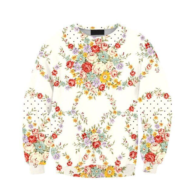 Suits For Women Small Fresh Floral Women Sweatshirt Fleece Hoodies Casual Female Cartoon Printing Sweatshirt Women Tops