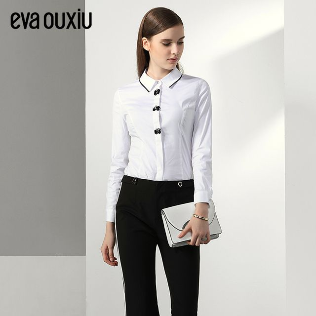 Evaouxiu Women Elegant Beading Turn-down Neck Shirt OL Formal Slim Blouse Tops Long Sleeve White Free Shipping