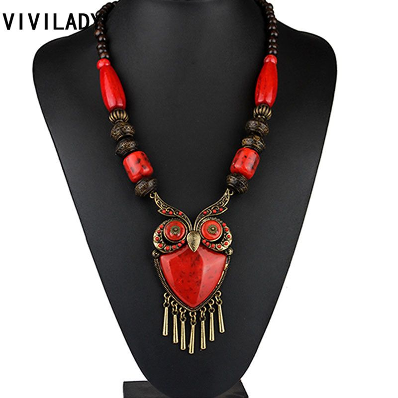 VIVILADY Fashion Owl Pendants Long Necklaces Women Newest Vintage Statement Blue Red Wood Beads Stone Animal Bohemian Jewelry