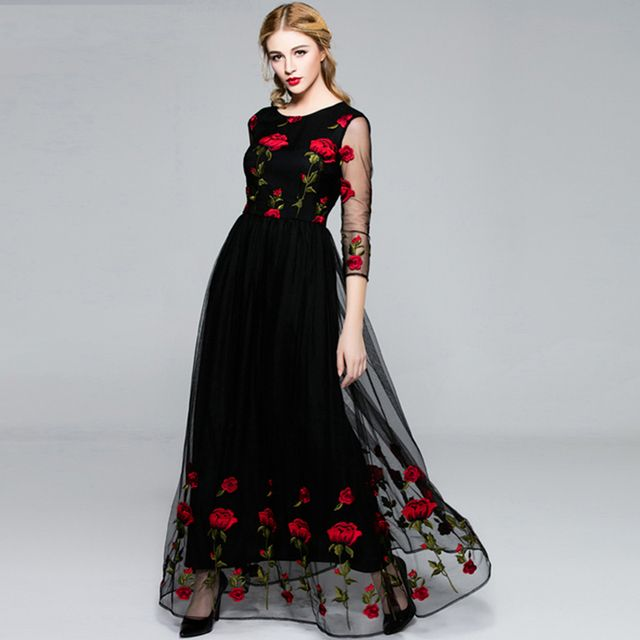 Vintage Dress 2017 Summer New Black Famous Casual 3/4 Sleeve Mesh Rose Embroidery Muslim Luxury Maxi Dress