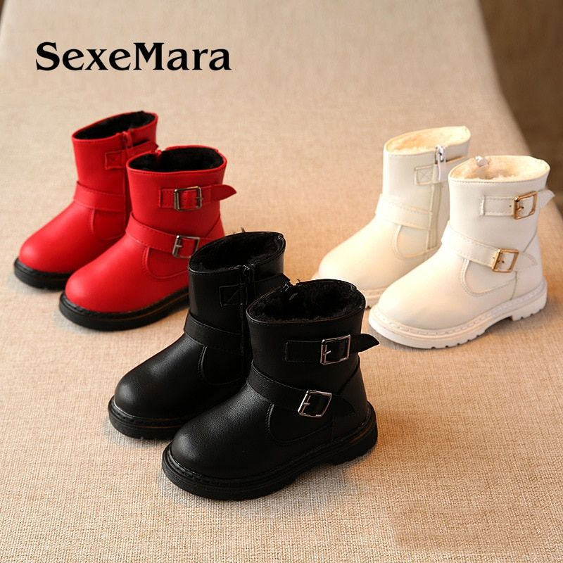 Autumn and winter new Korean kids snow boots Fashion and cotton girlsshoes Warm and comfortable to help Martin botas 13.2-15.2cm