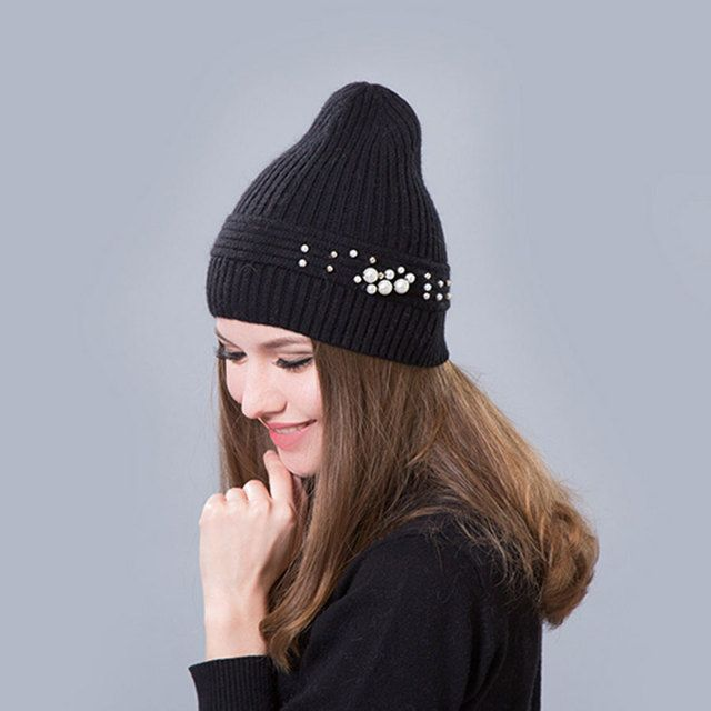 Women's Winter Hats female hat skullies beanies Beaded Wool knit hat stretch warm fashion leisure wholesale selling Harajuku