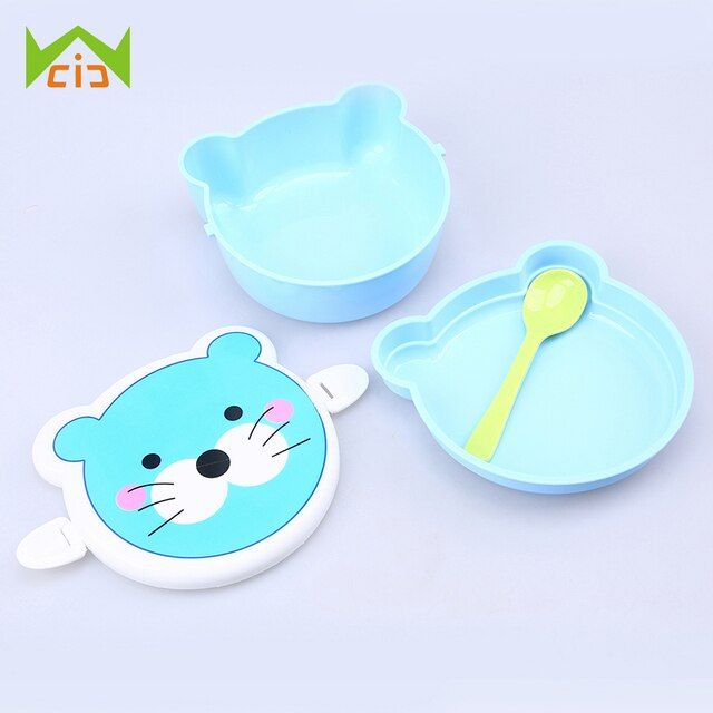 WCIC Double Layer Bento Box Portable Plastic Cartoon Food Storage Microwave Oven Lunch Container Box for Children Adults