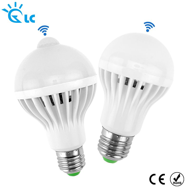 LED PIR Motion Sensor Lamp E27 220v Led Bulb 3w 5w 7w 9w 12w White Auto Smart PIR Infrared Body Sound + Motion Sensor Light