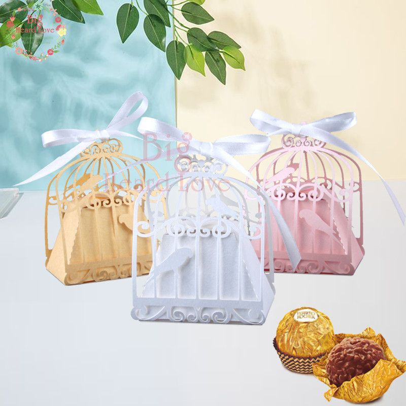 50pcs birdcage wedding favor box love birds candy box wedding favors and gifts decoration Baby Shower gift box for wedding Party