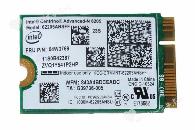 NEW Original for Lenovo Thinkpad x1 carbon 62205ANSFF N6205 62205AN SFF WIFI Card  Wifi Wlan Network Cards 04W3769