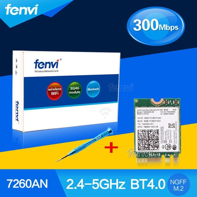 Fenvi Laptop Dual band 300Mbps Wlan Bluetooth For Intel Wireless-N 7260 7260NGW AN Wifi BT 4.0 2.4Ghz/5Ghz 802.11n network card