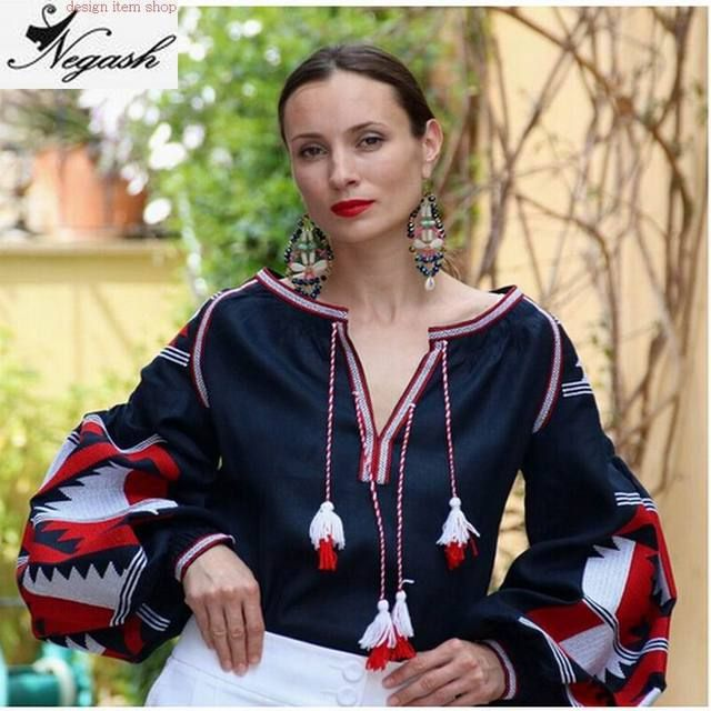Brand Navy blue Blusas Femininas big yard Shirts Mori Girl Spring Autumn national wind retro cotton embroidered tassel blouses