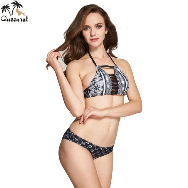Queenral Swimwear Bra  women sexy bras set bra set brazilian Women bralette lingerie Bra Halter Retro  female swimsuit