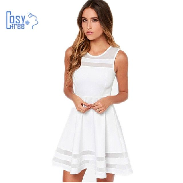 Cosyfree Summer Dress Sleeveless Casual Vestidos Solid Fit and Flare Sleeveless 2017 Women White Dress Chiffon Party Dresses